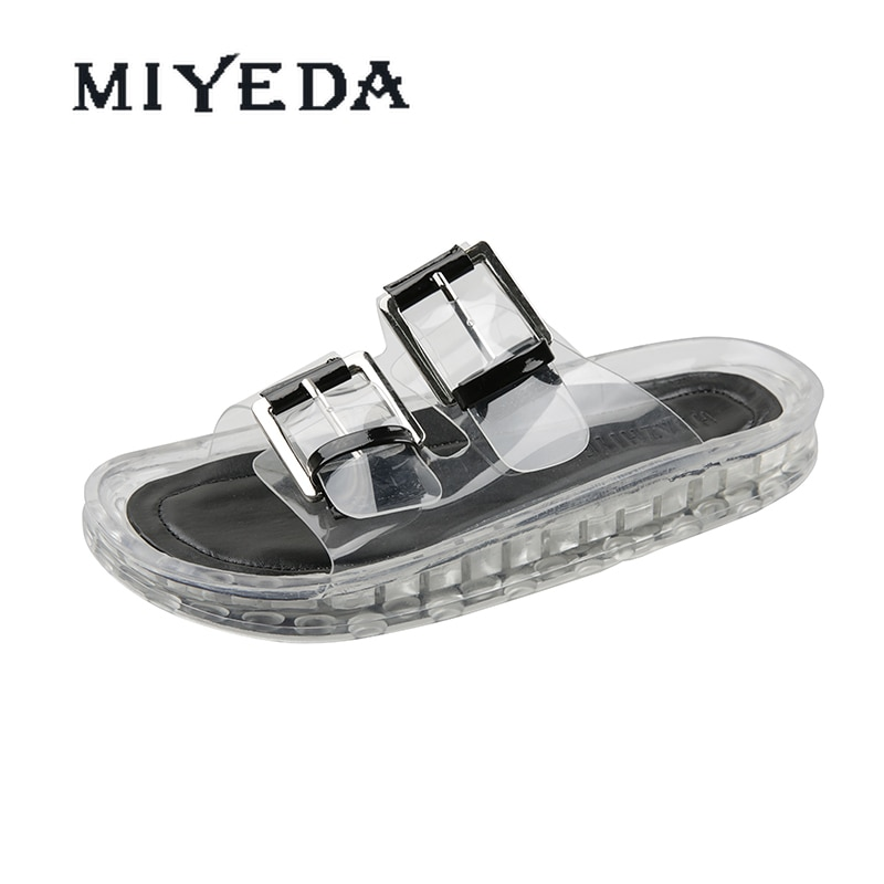 MIYEDA Women Slippers Summer Transparent Button New Fashion Design Female Slides Novelty Cool Daily Outdoor Women's Flats