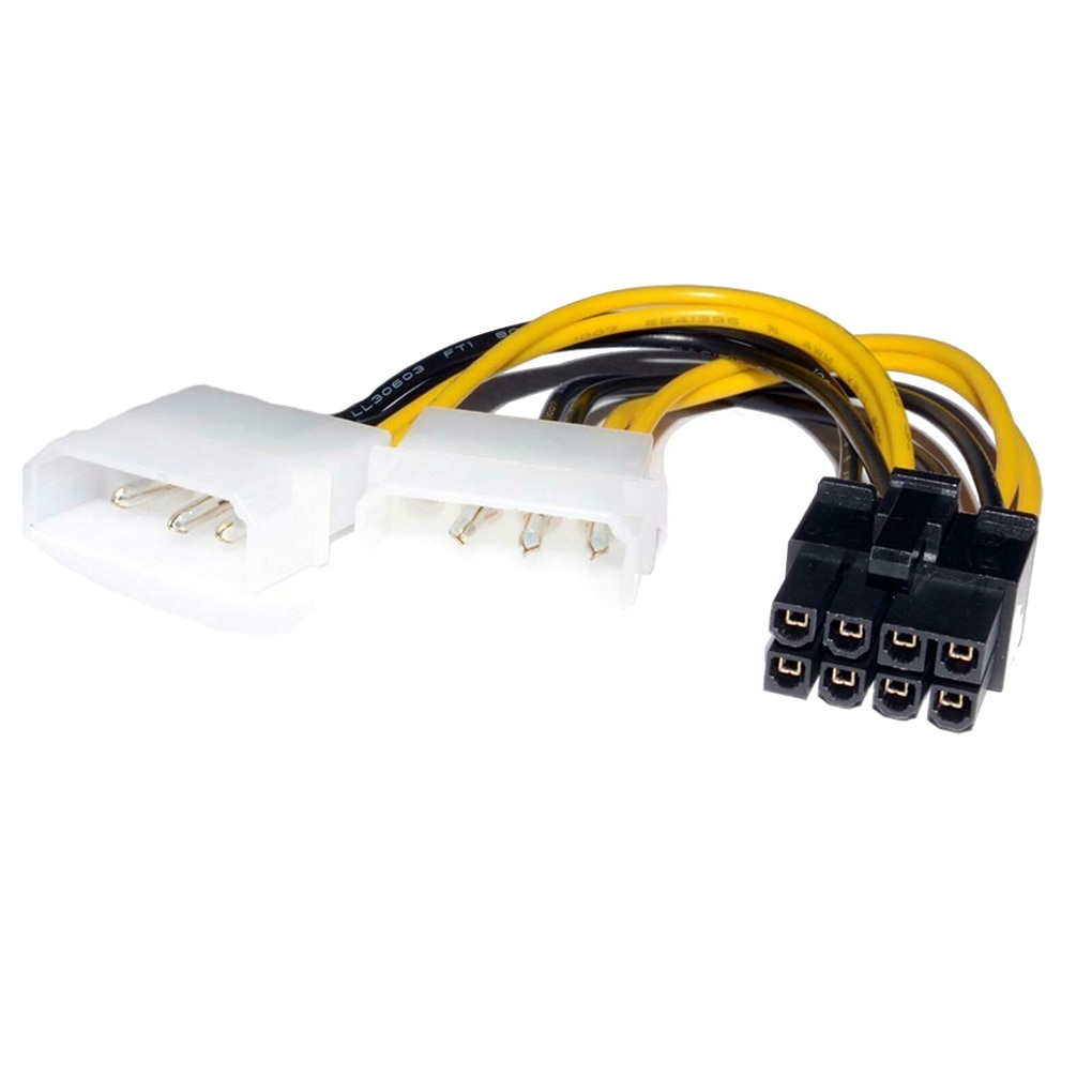 6 pin to 4 pin power cable wire pci e adapter graphics video card converter molex connetor 18cm 8Pin To Dual 4Pin Video Card Power Cord Y Shape 8 Pin PCI Express To Dual 4 Pin Molex Graphics Card Power Cable