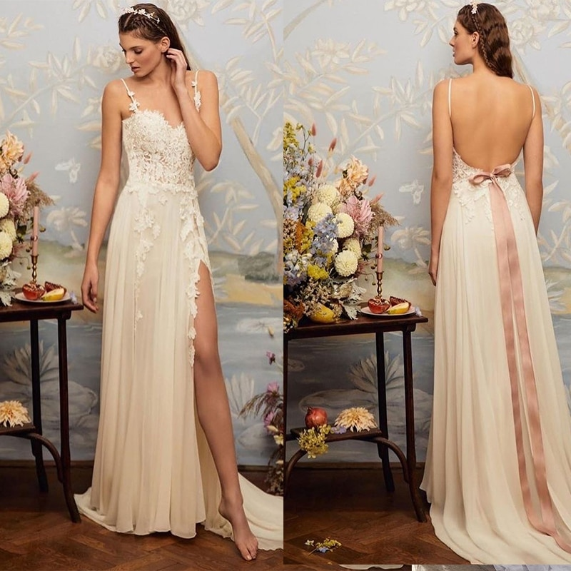 Boho Bohemian Beach Wedding Dress 2021 Side Slit With Court Train Backless Bridal Gowns Chiffon Lace Appliques Brilliant Simple
