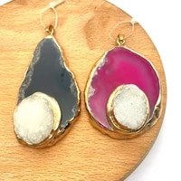 1pc natural semi precious stone agate with crystal gold plated edge irregular shape 5 colors for choice diy for making necklace