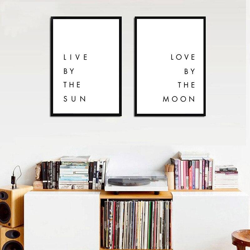 Negro Blanco Amor citas en vivo por el sol amor por la luna lienzo Póster con impresión estilo cuadro cuadros de pared para dormitorio decoración del hogar YX066