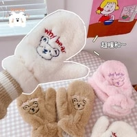 fashion white pink winter gloves for girls cashmere student cute bear cotton gloves korean thickened mitten plush gloves
