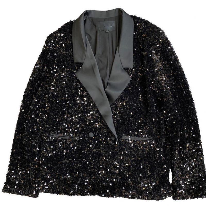 Women Blazer Sequins Patchwork Black Women Blazers Jackets Vintage Casual Sexy Suit Blazers Woman 2020 New Fashion Top