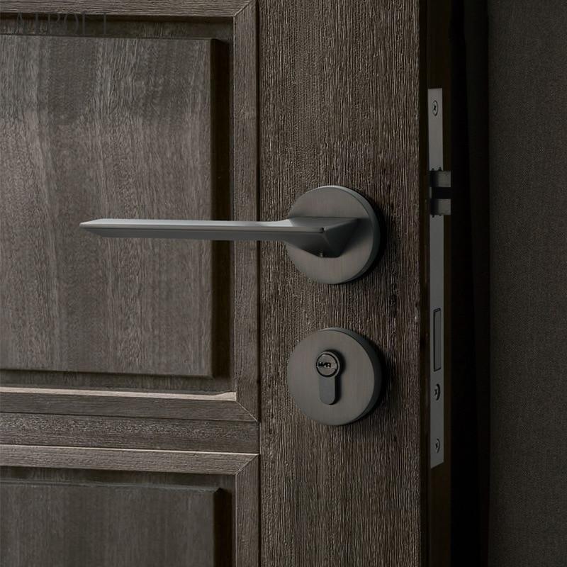 الشمال قفل الباب داخلي غرفة نوم قفل الباب كتم قفل الباب الأمريكية أسود رمادي سبليت قفل مقبض قفل جديد بسيط