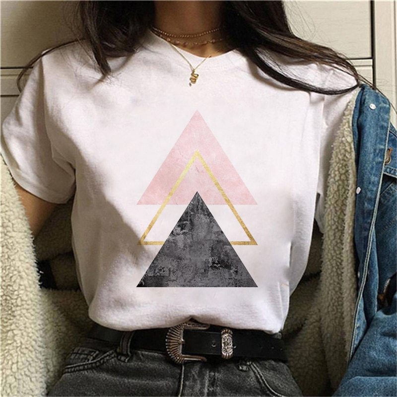 Beautiful geometry printed t shirt women 90s Graphic T-shirt Harajuku Tops Tee Cute Short Sleeve animal tshirt Female Tshirts