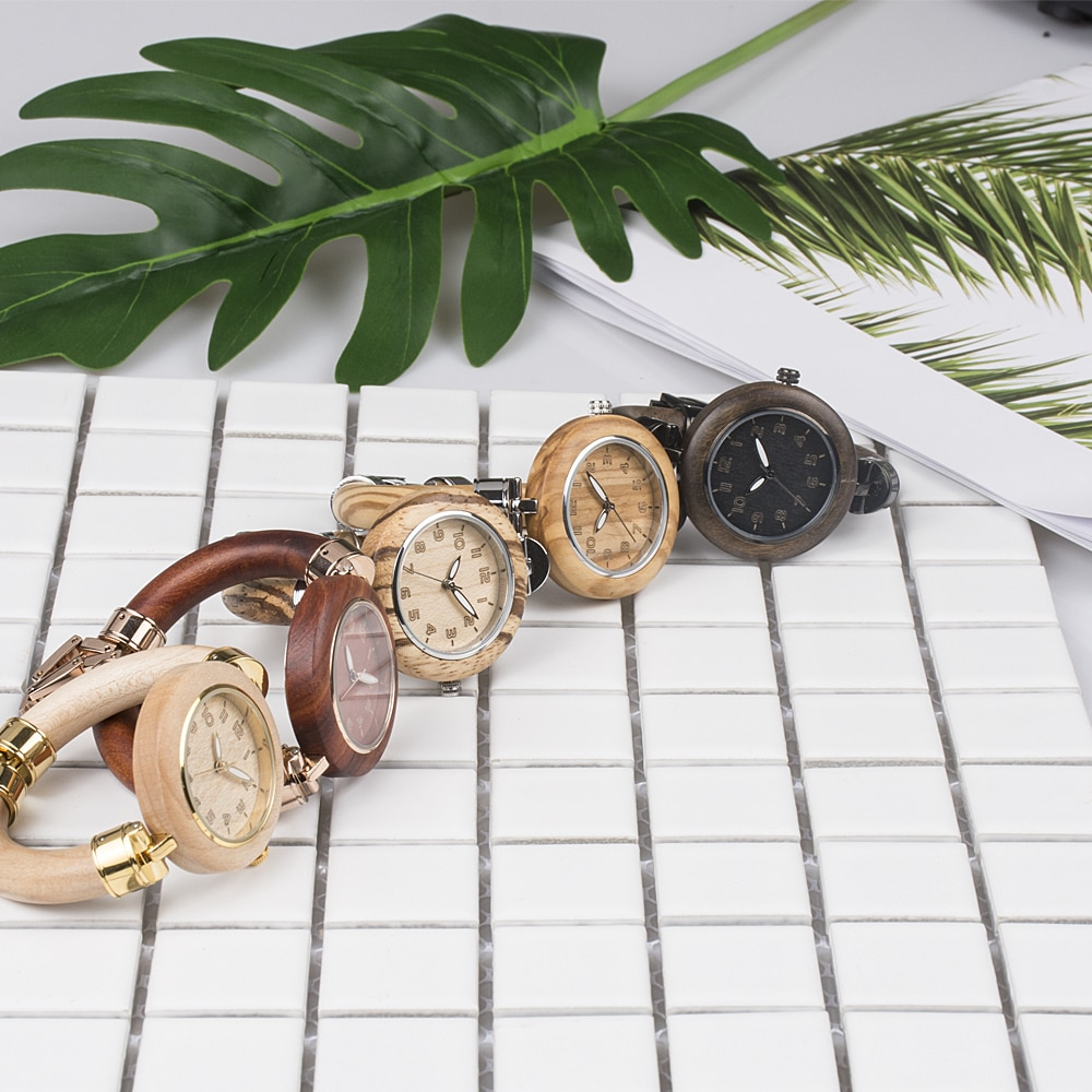 Fastion ladies stainless steel and wood wooden watches