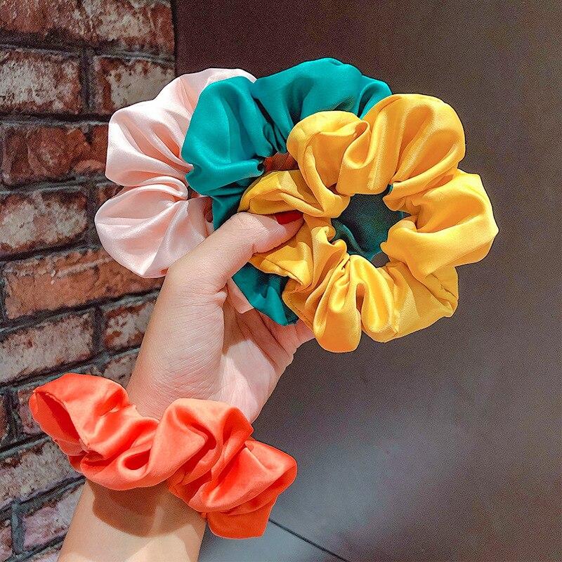Cintas elásticas brillantes de seda de imitación sólidas para coletas de verano para mujer, accesorios para el cabello para niñas
