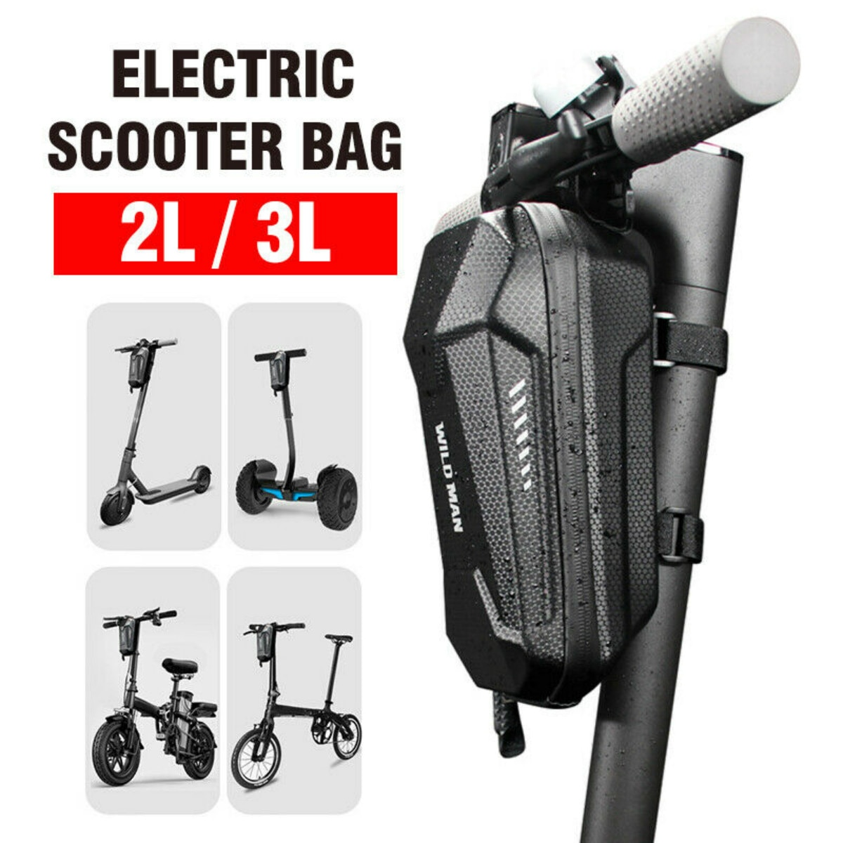 Universal Electric Scooter 2L/3L Head Handle Bag EVA Hard Shell Bag For Xiaomi M365 ES1 2 3 4 Electric Scooter Folding Bicycle