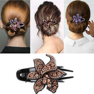 Crystal Slide Hairpin Flower Grips Pins Comb Hair Accessories Clips Women's