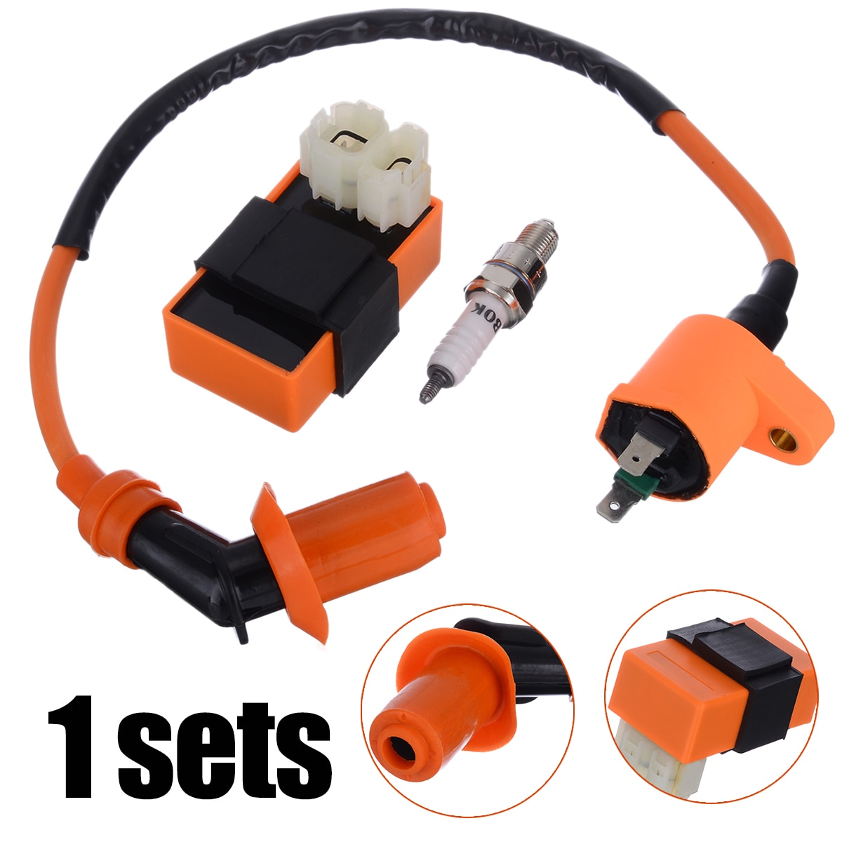 1set Motorbike Ingition Racing CDI + Spark Plug + Ignition Coil Kits For GY6 50/125/150CC 4-stroke Scooter Parts Accessories