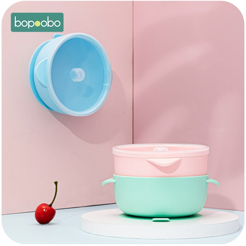 Bopoobo BPA, cuenco de silicona libre de doble ASA, suministros de alimentación de bebé, 1 pieza de silicona para masticar, accesorios para recién nacidos de grado alimenticio, dientes