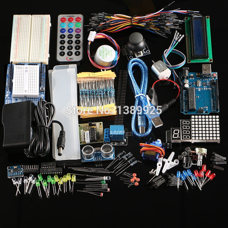 Frete grátis kit final Hc-sr04 sensor ultrassônico/motor de passo/servo/1602 lcd/r3 starter kit com caixa varejo
