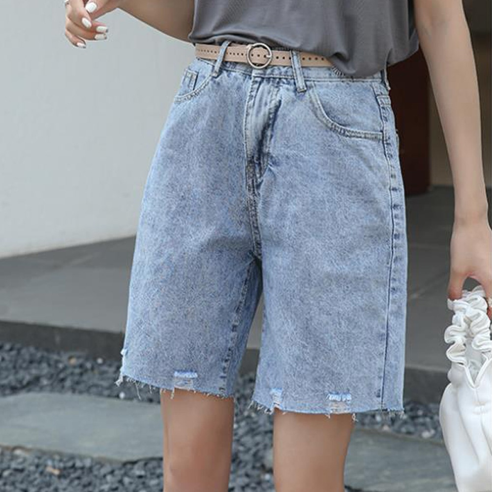 Streetwear Shorts Women Jeans Denim Knee Length Korean High Waisted Shorts Women Fitness Summer Mom Jeans Half Long Shorts