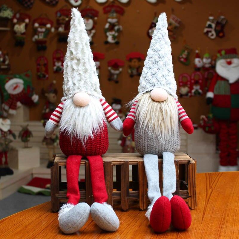 Muñeco de Papá Noel hecho a mano de peluche sueco Gnomo Tomte escandinavo nórdico Nisse Sockerbit duende enano adornos para el hogar Decoración de Navidad