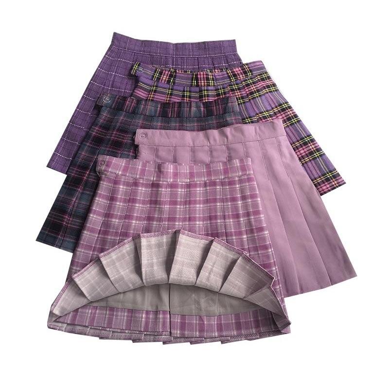 Summer Female Skirt High Waist A-line Women Pleated Skirts Casual Kawaii Ladies Plaid Skirt Harajuku Fashion Girls Dance Skirts
