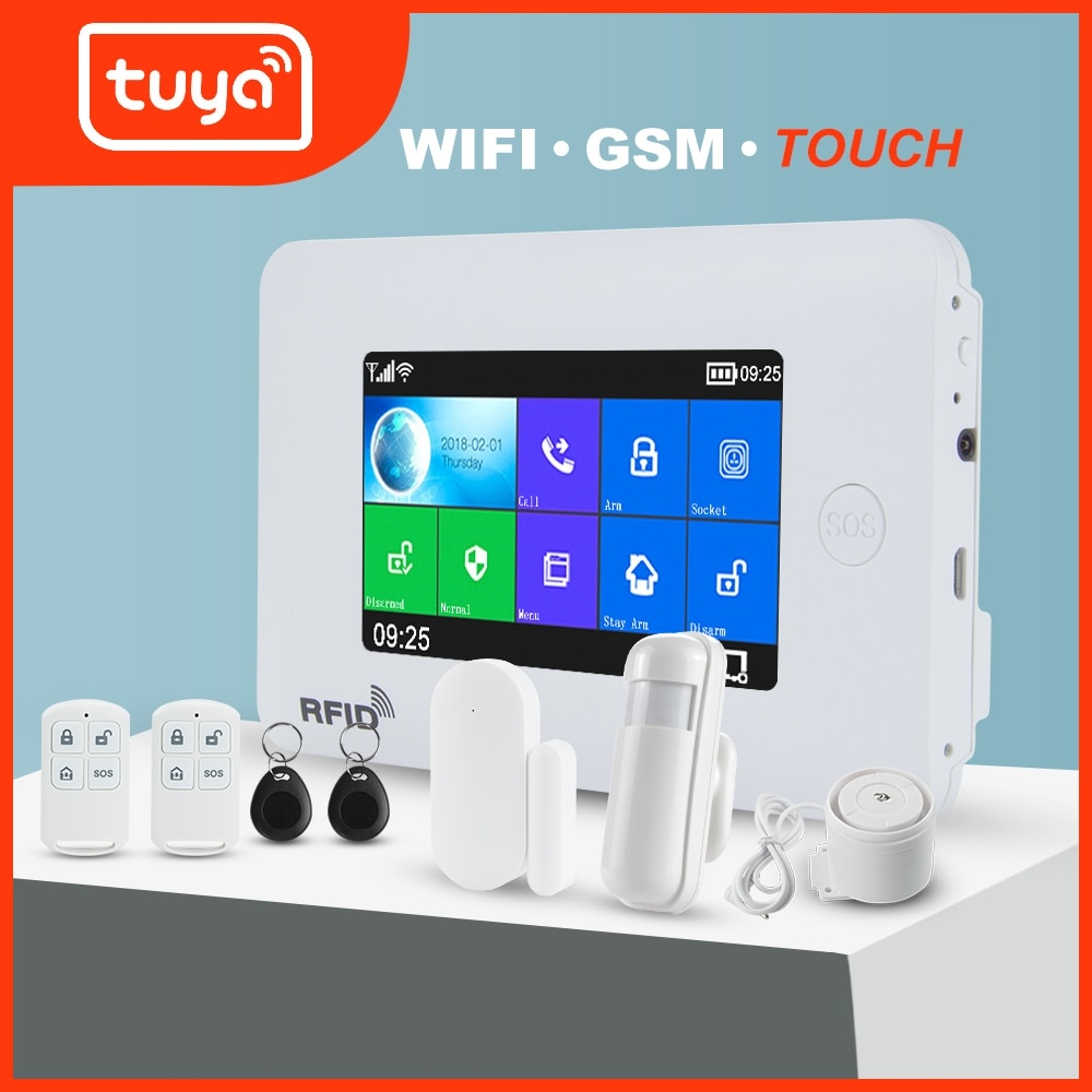 Awaywar WIFI GSM home Security Burglar smart Alarm System kit Tuya 4.3 inch touch screen APP Remote Control RFID Arm Disarm