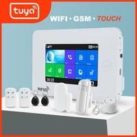 Awaywar     kit de systeme dalarme de securite domestique intelligent  wi-fi  GSM  ecran tactile 4 3    Tuya  controle a distance avec application  activation desactivation RFID  anti-cambriolage