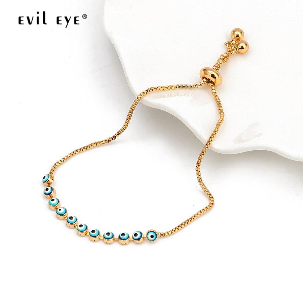 EVIL EYE Dropping Oil Charm Bracelet Gold Color Chain Red Blue Turkish Eye Bracelet Adjustable Jewelry for Women Femme EY6546