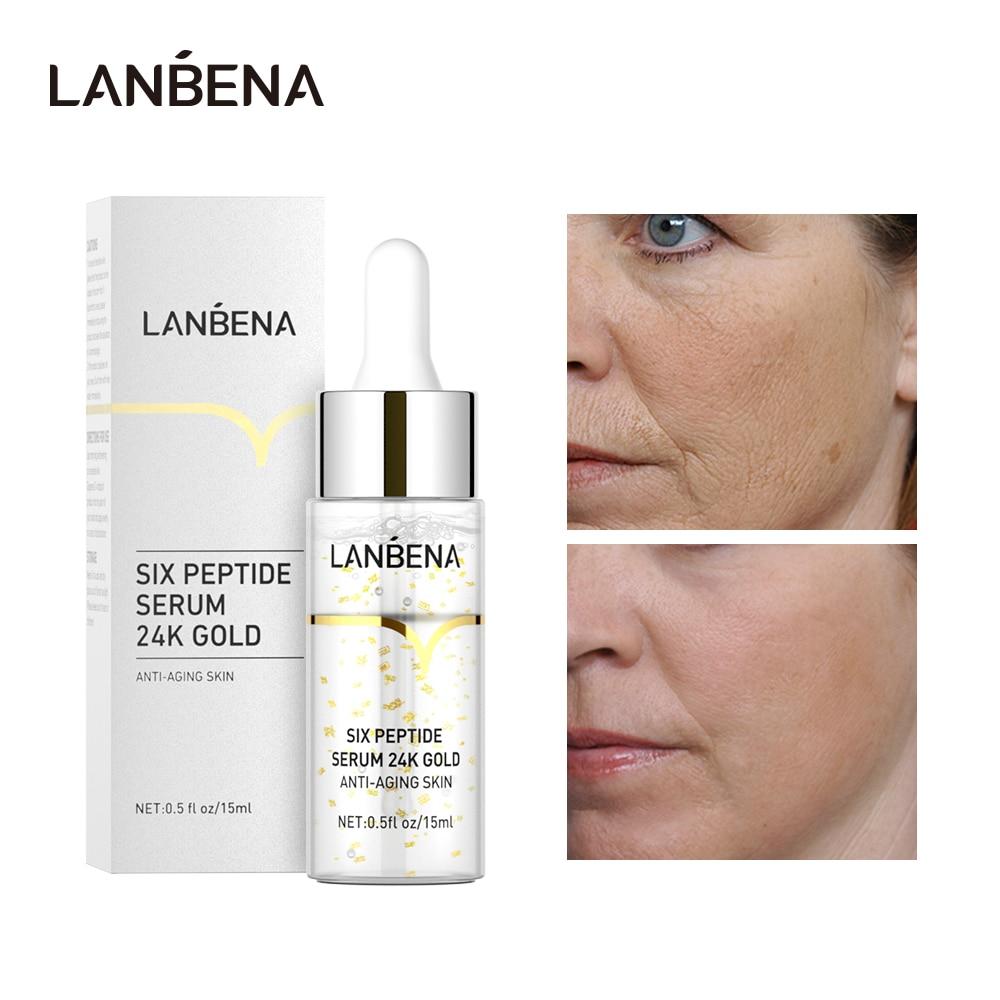 LANBENA 24K Gold Six Peptides Serum Anti-Aging Firming Lifting Wrinkles Repair Brightening Moisturizing Skin Care Essence 15ml недорого