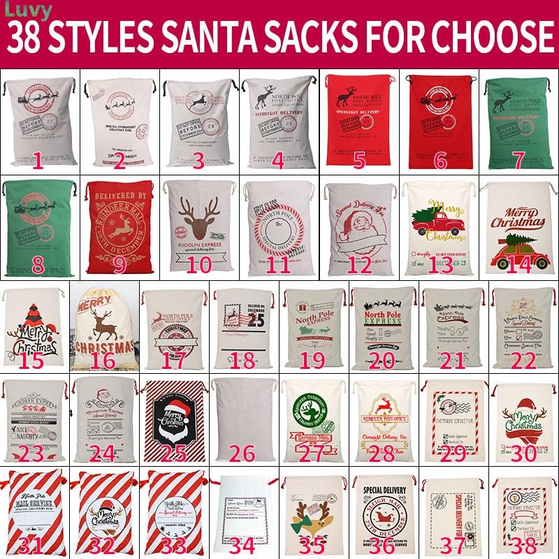 2020 nueva llegada 38 estilos Santa Sacks bolsa de lona 10 unids/lote saco de Santa Claus bolsa de Santa Claus a granel Extra grande decoración de Navidad