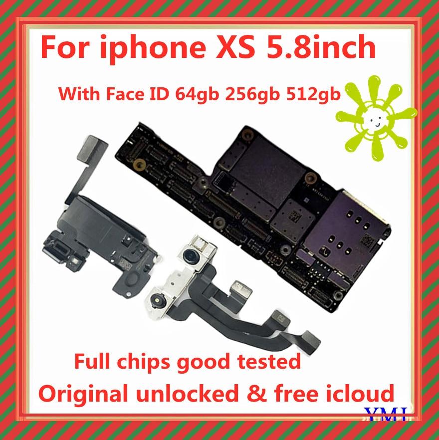 64gb 100% gb اللوحة الأم لـ iPhone XS ، مجموعة أصلية 256 مع فتح iCloud مجاني ، لوحة دوائر كاملة مع شرائح