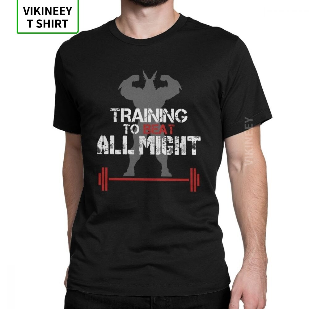 My Hero Academia entrenamiento To Beat All Might.png moda camiseta hombres manga corta Tops camiseta negra algodón o-cuello camisetas