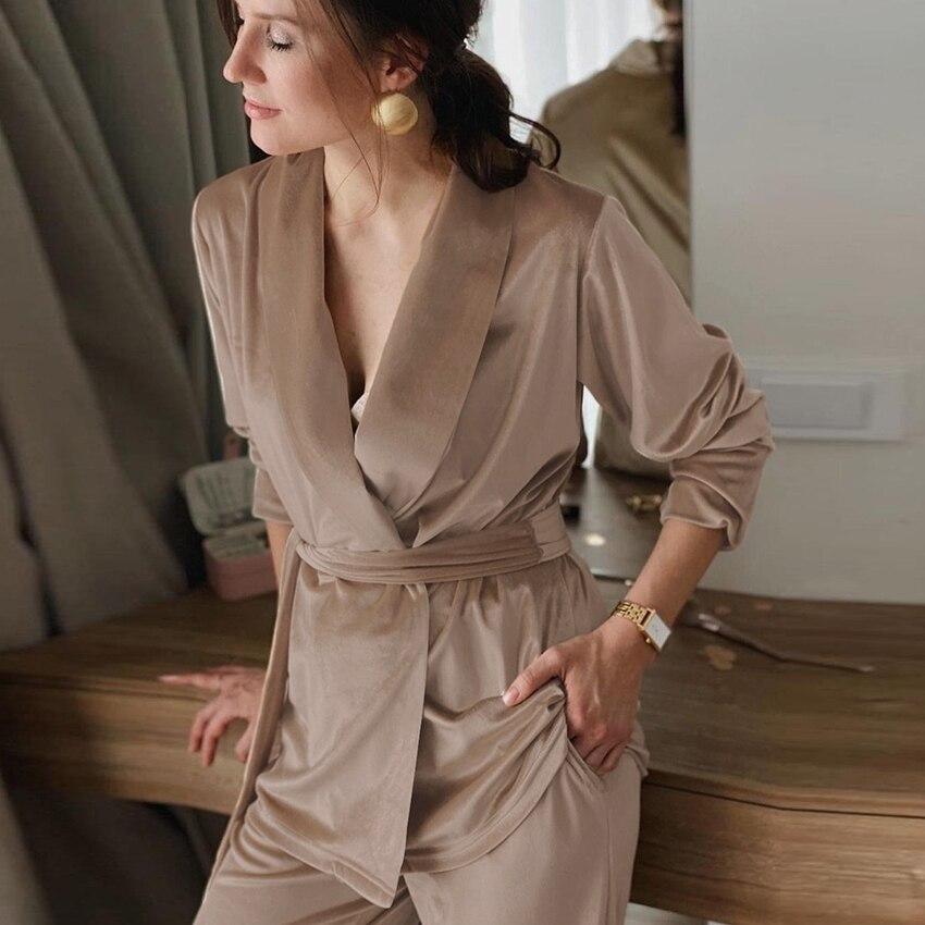 Hiloria-طقم بيجاما ربيعية ، كاكي ، مع حزام ، أكمام طويلة ، ملابس نوم نسائية ، مخمل مع بنطلون ، 2021