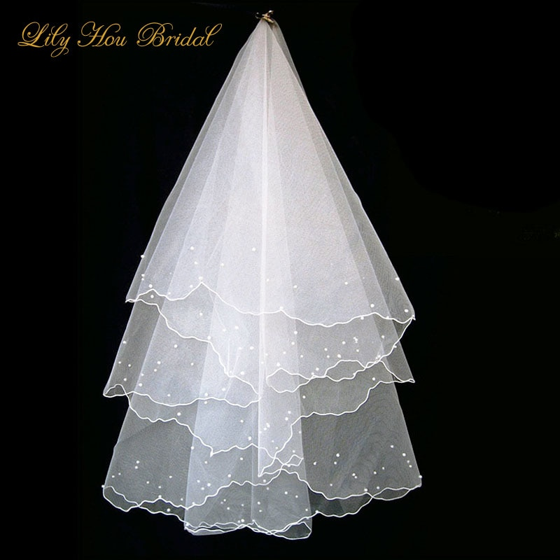 Недорогие Короткие Свадебные фаты, бесплатная доставка, двухслойная Фата стандартной длины, без гребней