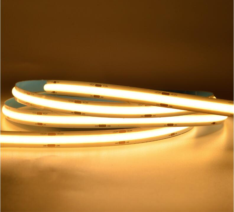 Envío Gratis 5M luz de neón LED Lámpara de cuerda Flexible COB LED de luz de tira de alta densidad 14 W/mk cinta de luz LED DC12V DC24V COB IP30