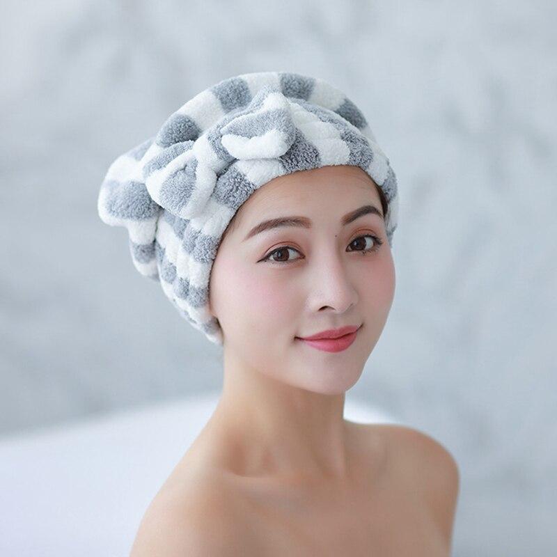 Gorro de secado para cabello de microfibra, superabsorbente, accesorios de tapón de ducha Bowknot de secado rápido