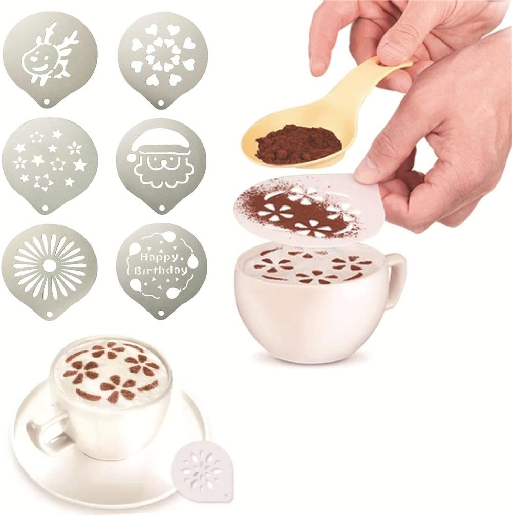 Plantilla de café de acero inoxidable, tamiz de azúcar en polvo, patrón de filtro, plantilla de Cappuccino Latte galleta Cupcake, molde de Barista de leche