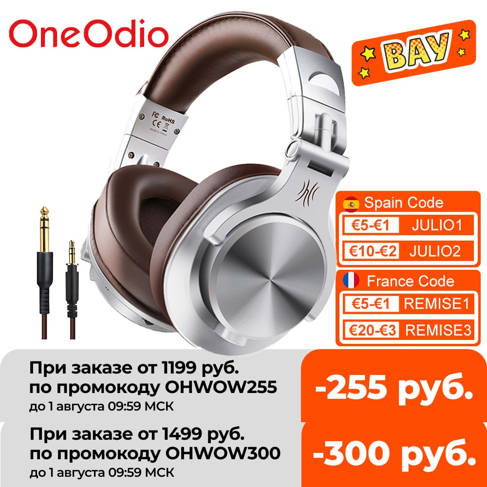OneOdio A70 Fusion سماعات بلوتوث 5.0 تسجيل ستوديو سلكية/سماعات لاسلكية مع منفذ حصة المهنية رصد