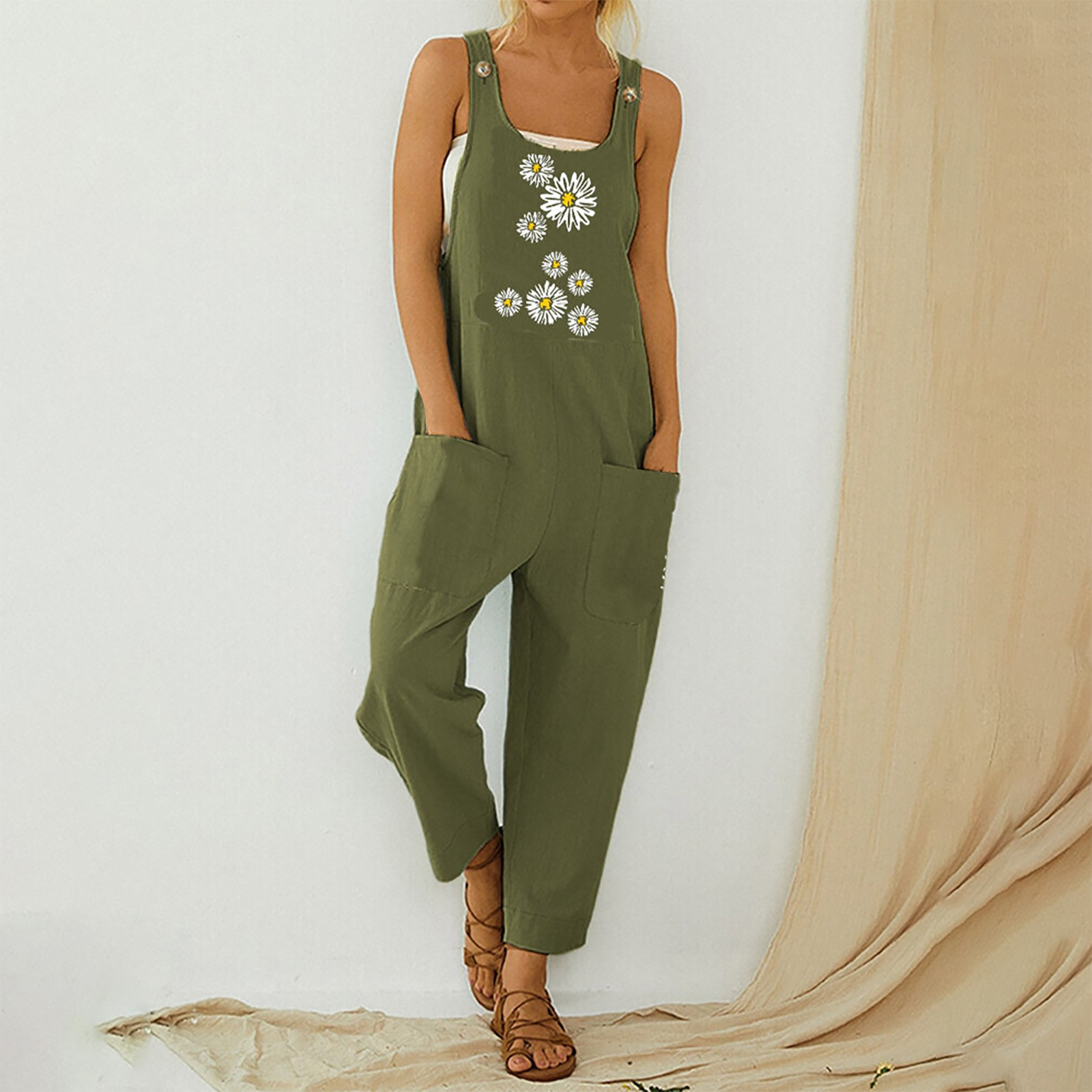 Fashion Overalls Jumpsuit Womens Floral Prints Straps Wide Leg with Pockets Vintage Summer Elegant Clothing