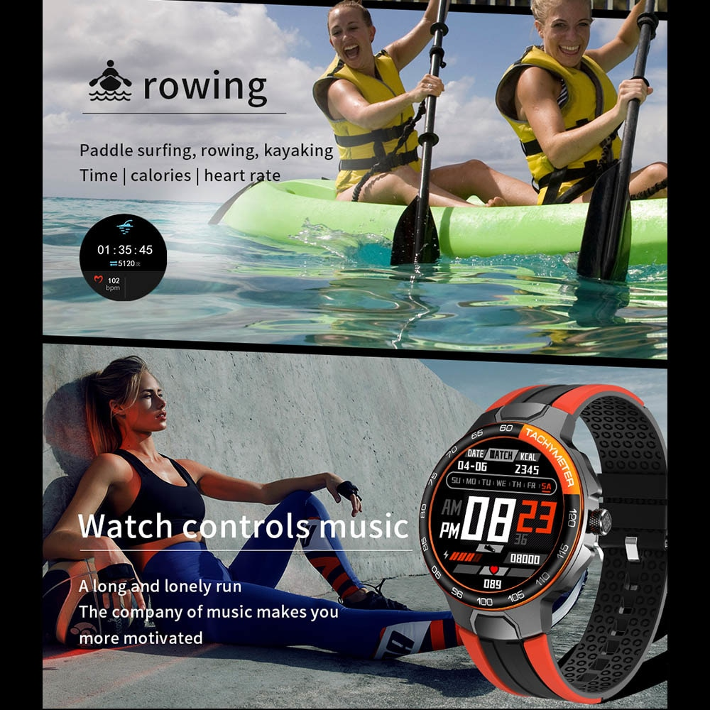 Smart Clock Men Women IP68 Water density Bluetooth 5,0 24 Exercise Modi Smartwatch E1-5 Heart rate Monitoring for Android Iosr enlarge