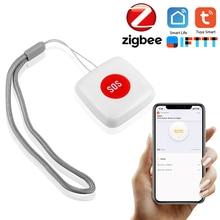 TUYA ZigBee SOS Button Sensor Alarm Elderly alarm Waterproof Emergency Panic Button Tuya Smart Life App Remote Control