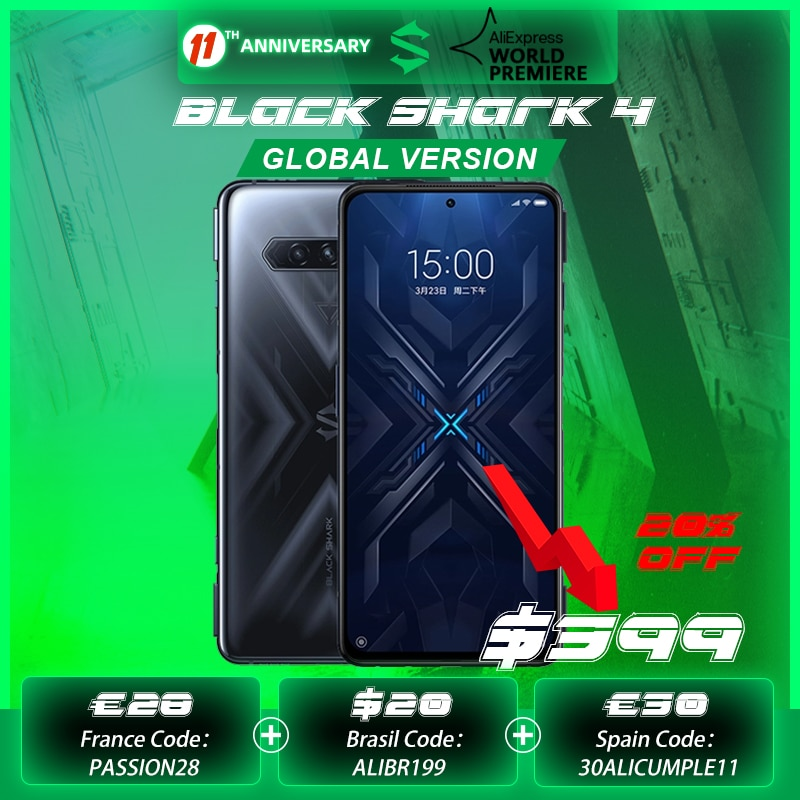 2021 New Pre-sale Black Shark 4 6GB/8GB 128GB Smartphone Snapdragon 870 144Hz Refresh Rate E4 AMOLED Screen DC Dimming UFS 3.1