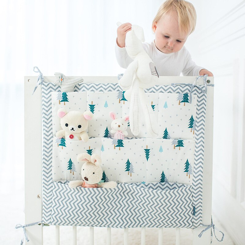 55*60cm Crib Baby Bed bumper Hanging Storage Bag Multi-functional muslin  Cot pocket     Bedding Bumper
