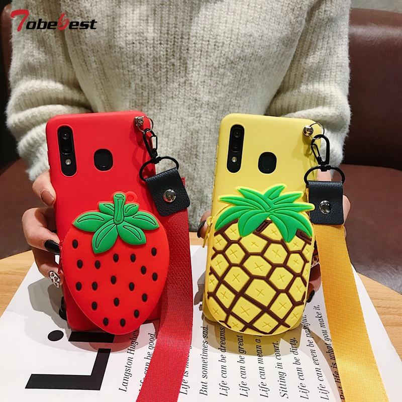 3D piña y fresa monedero de frutas Cordón de silicona TPU caso para oneplus 7T 7 Pro Coque uno más 6T 6 5T 5