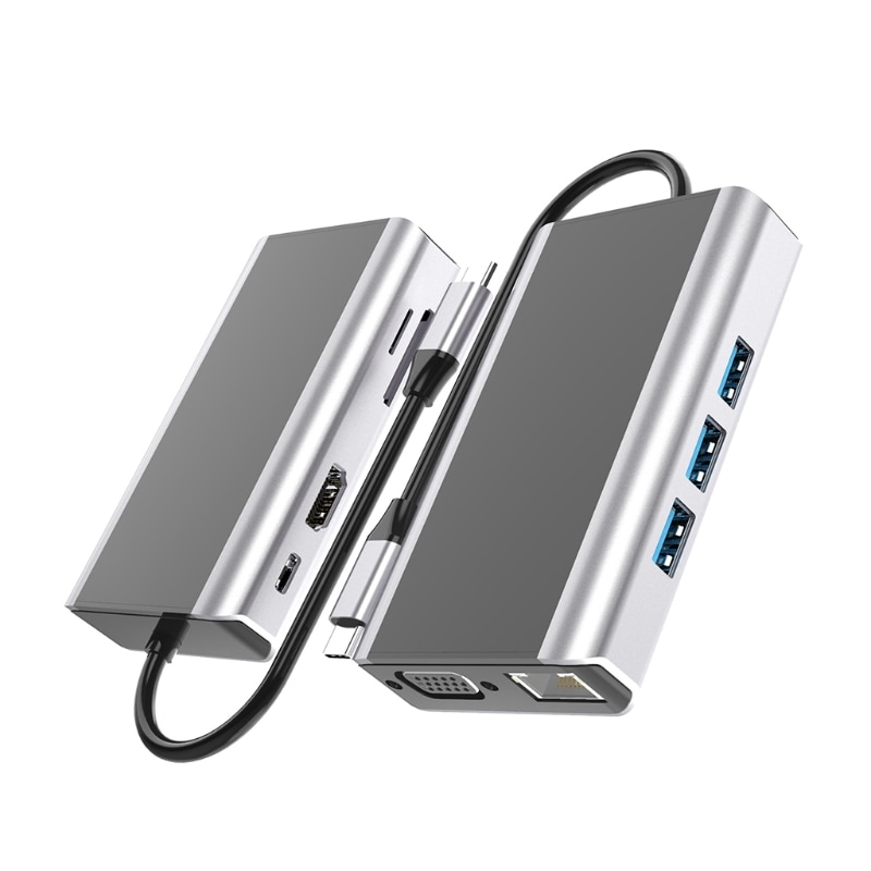 USB-C جديد نوع C 3.0 قفص الاتهام متعدد الوظائف 9 في 1 Hub VGA RJ45 LAN شاحن متوافق مع هواوي وديل PD100W HDMI متوافق