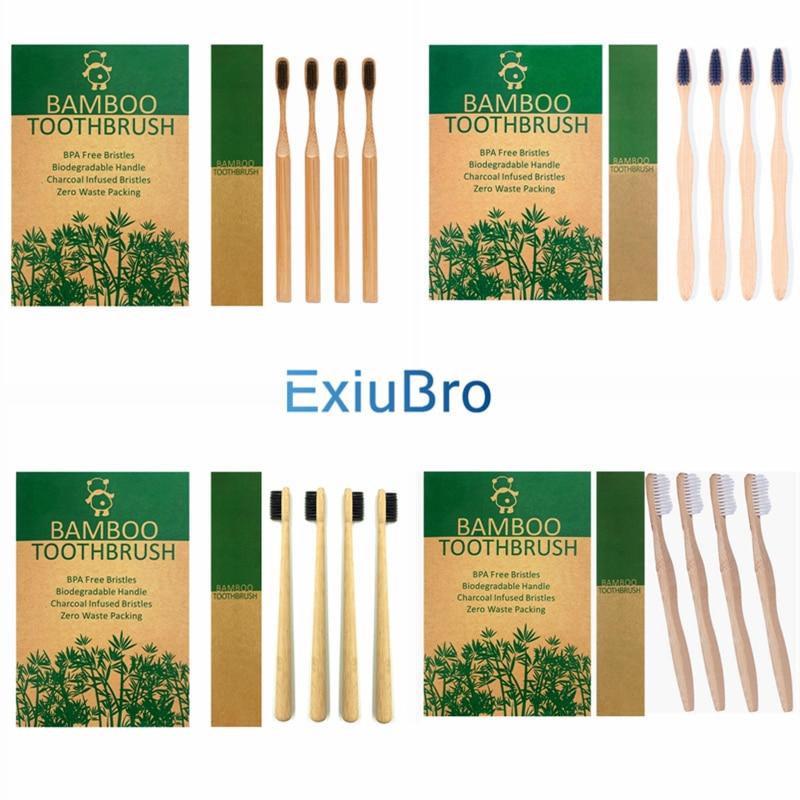Paquete de 4 cepillos de dientes de bambú biodegradables naturales, cepillo de dientes de bambú ecológico orgánico, cerdas de bambú compostables veganas