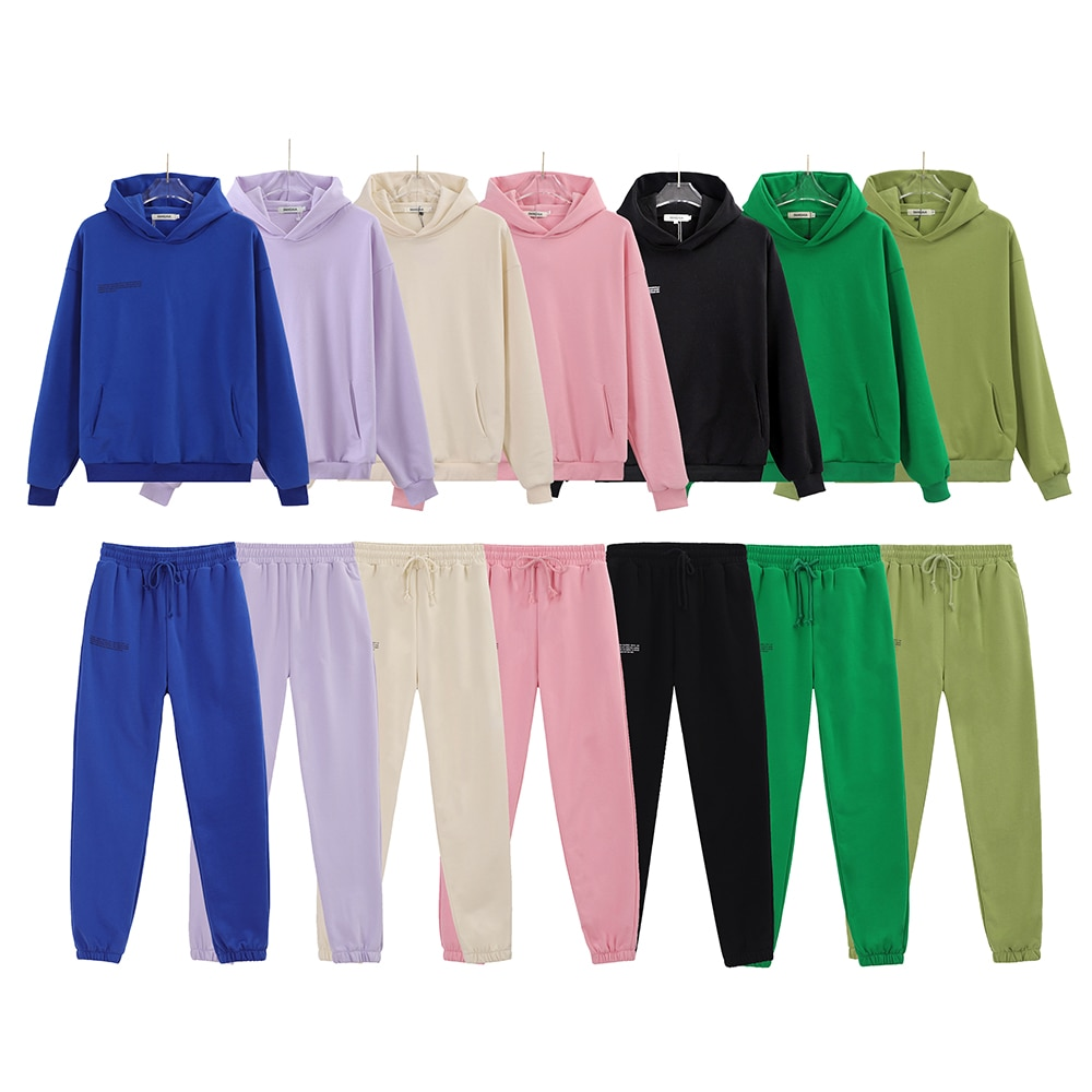 Spring Solid 100% Cotton Hoodies sets Women Hooded Sweatshirts Track Pants Joggers Two Pieces Children Kids Family Tracksuits