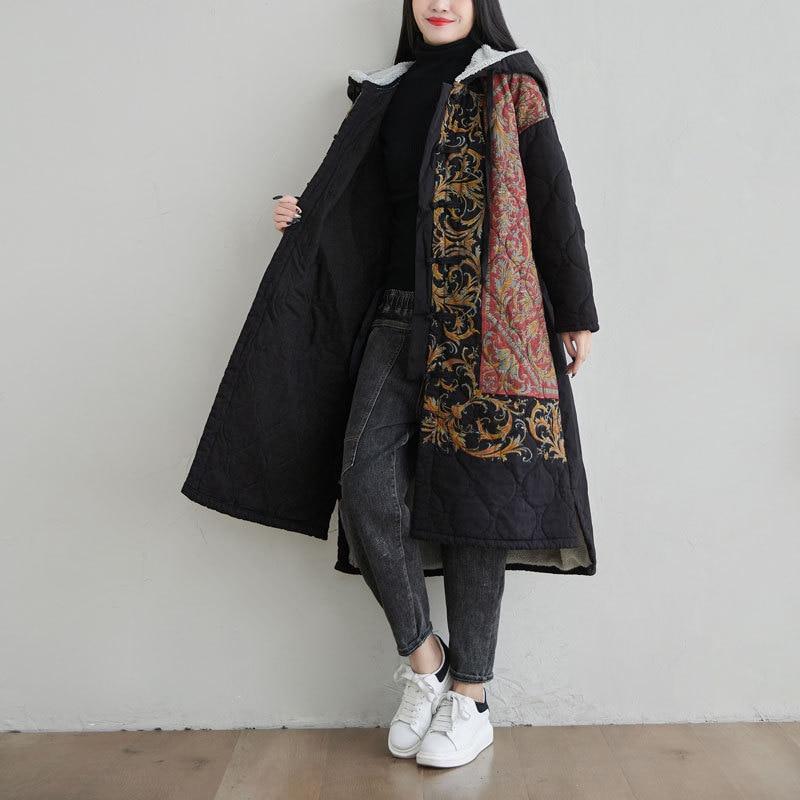 Women Coat Jacket Ethnic Boho Print Warm Flannel Inner Cotton Padded Hooded Loose Outerwear T032