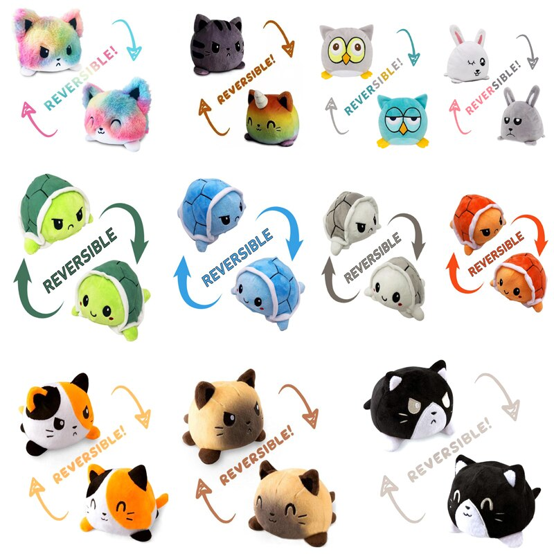 original feisty pets funny expression change face plush unicorn dog panada cat stuffed animals with keychain toys kids baby gift Plush Reversible Cat Stuffed Toys Double Sided Flip Plushie Animals Cute Soft Toys PP Cotton Plush Doll Baby Kids Birthday Gift