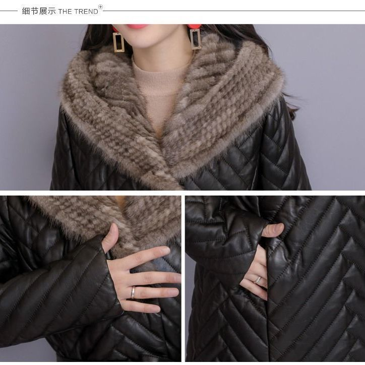 Women's tuhao leather coat down cotton suit Korean long winter net red new plush fur one women's coat enlarge
