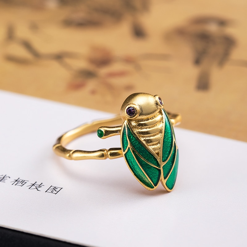 VLA 925 Silver Personalized Vivid Gold Cicada Ring Women's Lovely Sweet Insect Ring Opening Adjustab