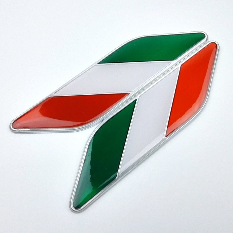Etiqueta de Metal para decoración de coche, emblema, pegatina, Bandera de Italia para Benz VW Fiat Maserati Lancia 2x