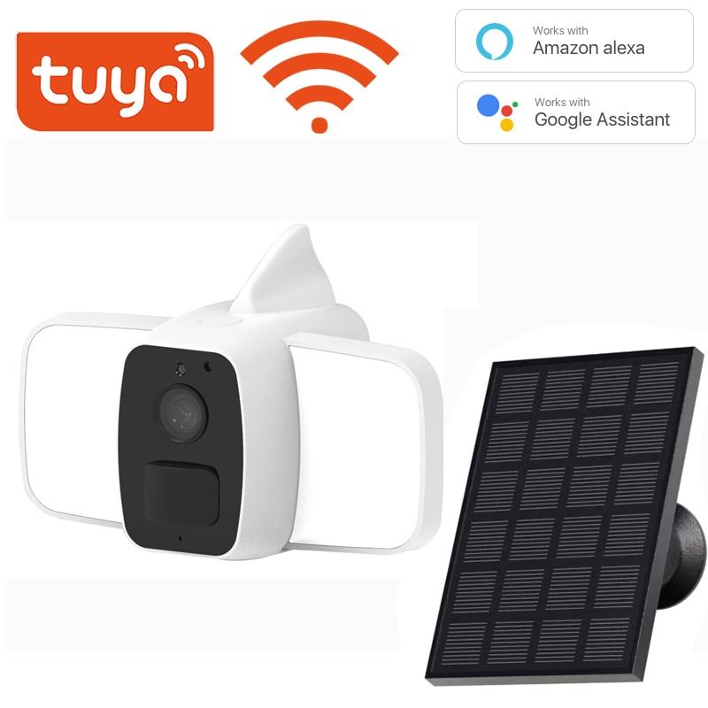 Tuya-كاميرا تعمل بالطاقة الشمسية WiFi 1080P ، مقاومة للماء ، قابلة لإعادة الشحن ، 10000 مللي أمبير ، متوافقة مع Alexa Google 140LM ، ضوء ليلي ملون