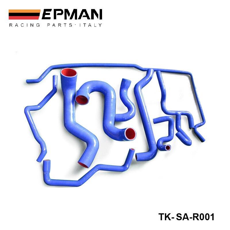 9 шт. оригинальный логотип 100% силиконовые чехлы с Хладагент шланг комплект для Saab 9-5 2,3 T 2003 + синий EP-SAR001