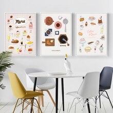 Affiche nordique avec Macaron, gâteau, café, outil de boisson, image dart mural, peinture sur toile, boulangerie, décoration intérieure de cuisine