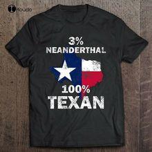 Flag 3% Neanderthal 100% Texan Funny Gift T-Shirt Black S-3XL